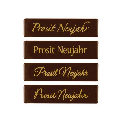 Placchetta  Prosit Neujahr , cioccolato fondente