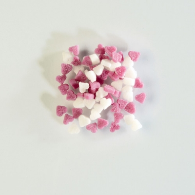 Decori da spargere in zucchero, cuoricini bianchi/rosa