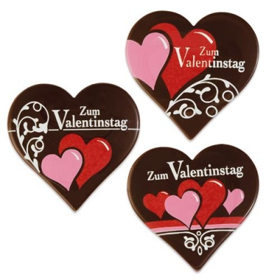 "Cuore ""Zum Valentinstag"", cioccolato fondente, ass."