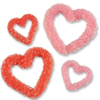 Cuori di zucchero cristallizzato, grandi e piccoli