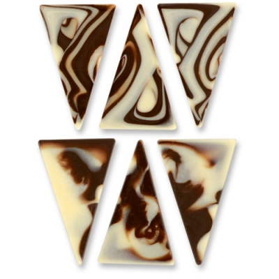 288 pz Triangoli marmorizzati, cioccolato nero