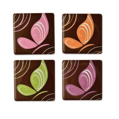 105 pz Farfalle su quadrati, cioccolato fondente, assortite