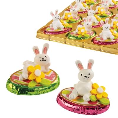 12 pz Coniglietti in resina su ovetto