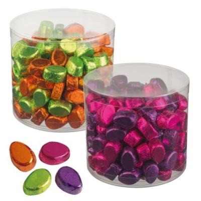 2 pz boite violet/rose et vert/orange 2 Petits oeufs en chocolat